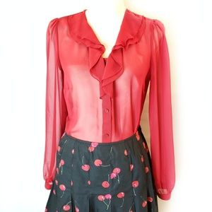 East 5th sheer ruffle front blouse, sz S